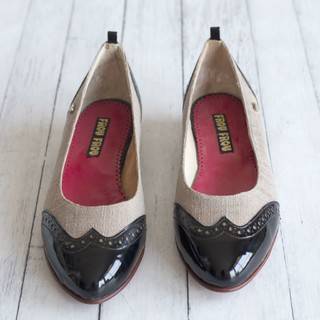 flat shoes grey black leather sole low heel handmade