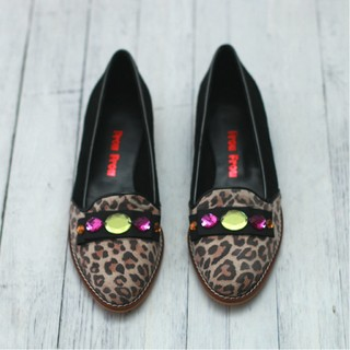 Handmade Flat Animal Print & Black Leather Shoes with Stones and Bow on Vamp