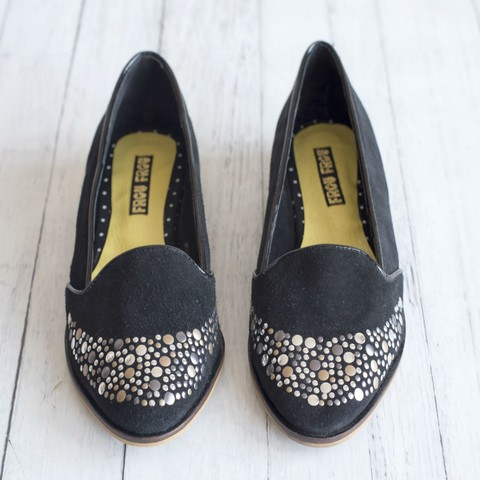 black leather shoes slippers flats