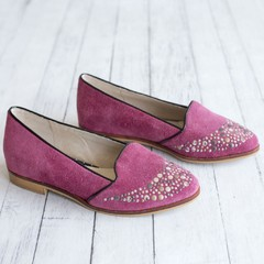 Mocasines Slippers Chatitas Chatas Bordo Cereza Cherry Taco Bajo Tachas Oro Plata