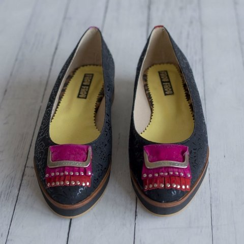 black flowers flats flatshoes yellow lining leather appliqué red pink leather with studs silver platform heel