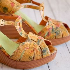 sandalias cuero miel honey taco chino zapatos flores