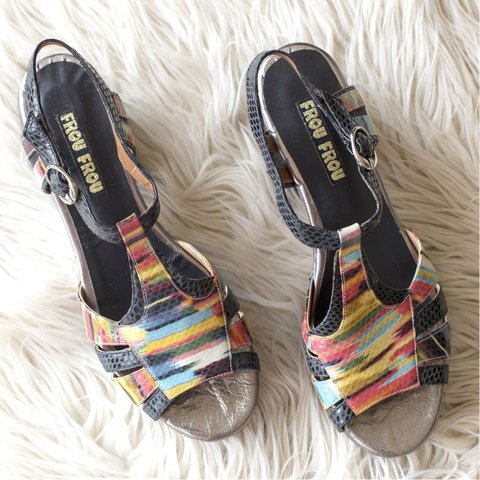 leather multicolor and black reptile sandals platform in black vintage