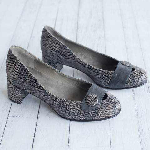 Zapatos Kelly Reptil Gris & Negro