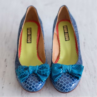 Jean Leather Blue Turquoise Shoes High Heel Bow Retro