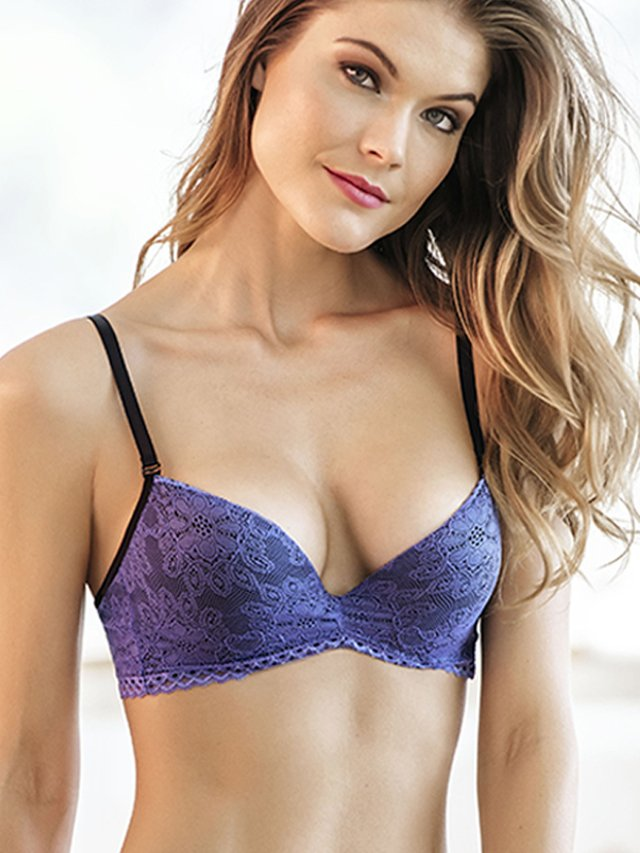 Brasier Push Up Encaje Azul. Kibys