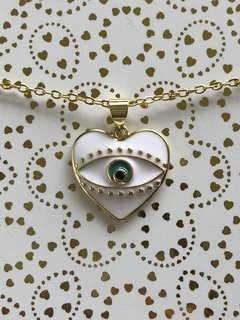 Collar Corazon ojo blanco PROTECCION - EMMEFIT