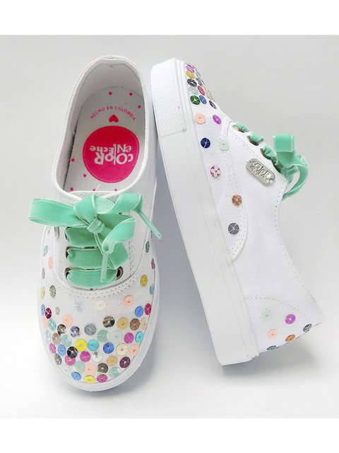 Tenis Kids Sparkling. Color En Leche