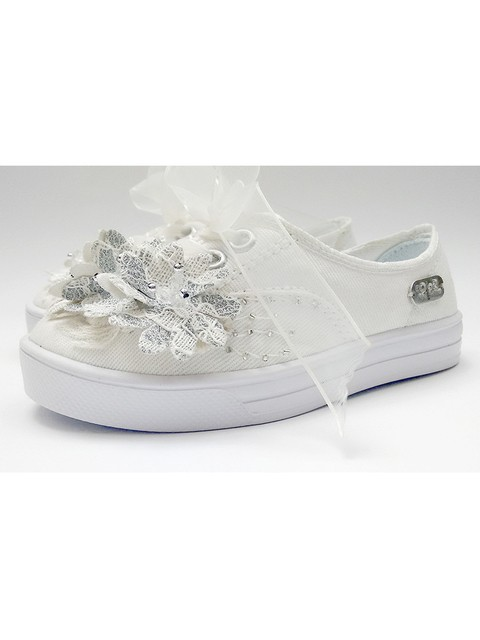 Tenis Kids De Fiesta Blanco. Color En Leche