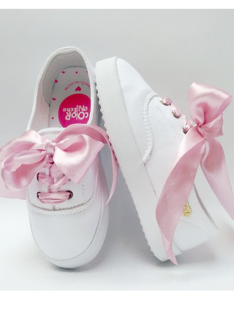 Tenis Kids Algodon Satin Rosa. Color En Leche