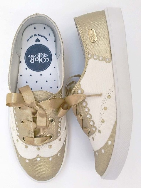 Tenis Kids Coca Colo Gold. Color En Leche