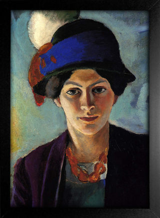 August Macke - Portrait of the Artist's Wife With a Hat - loja online