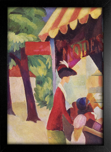 August Macke - In Front of the Hat Shop - Woman With Red Jacket and Child - loja online