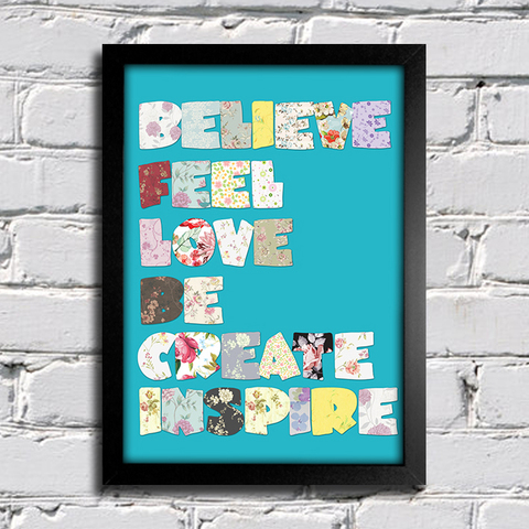 Poster Believe Feel Love Be Create Inspire - comprar online