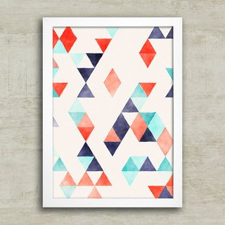 Poster Abstract triangles red & blue - Encadreé Posters