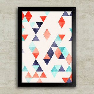 Poster Abstract triangles red & blue na internet
