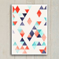 Poster Abstract triangles red & blue - loja online