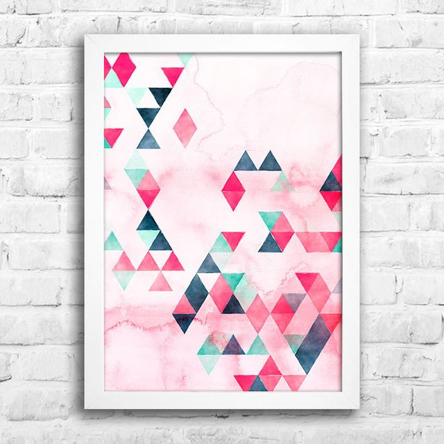 Poster Watercolor Triangles - Encadreé Posters