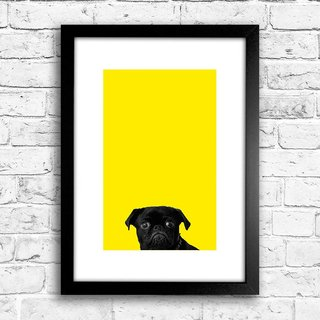 Poster Black Pug - Yellow - comprar online