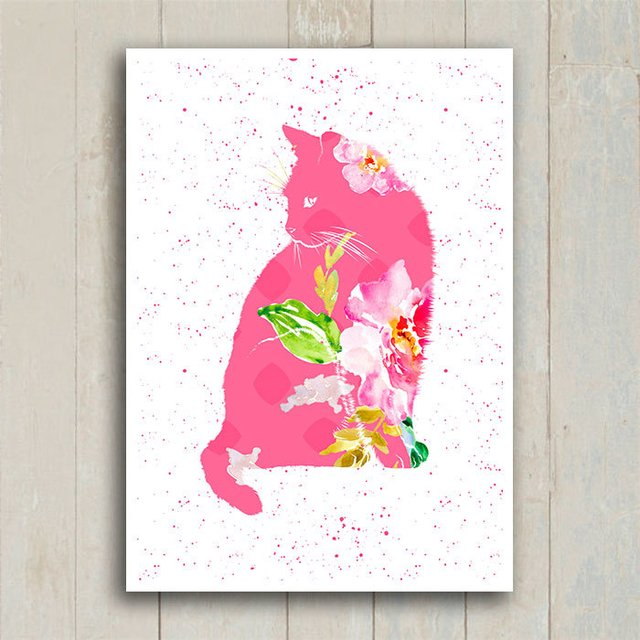 Poster Cat Floral