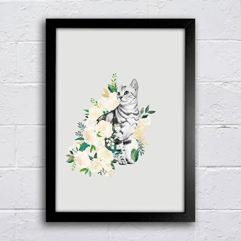 Poster Cat Flowers