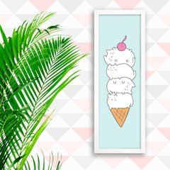 Poster Cat Ice Cream Blue - comprar online