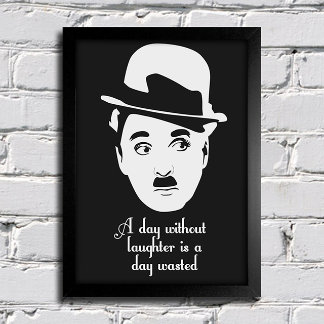 Poster Citação Charlie Chaplin - A day without laughter is a day wasted - Encadreé Posters
