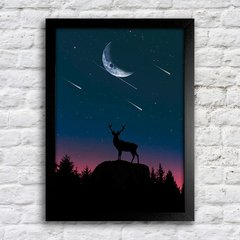 Poster Deer at night na internet