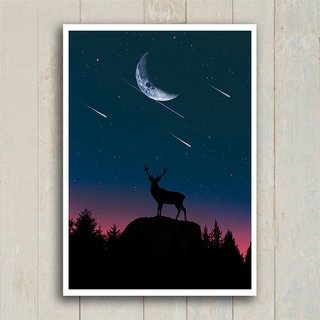 Poster Deer at night - Encadreé Posters
