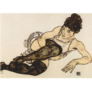 Egon Schiele - Reclining Woman With Green Stockings Adele Harms na internet