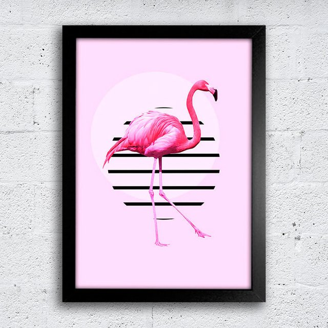 Poster Flamingo Circle Stripes - comprar online