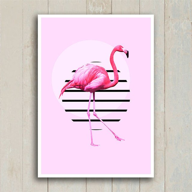 Poster Flamingo Circle Stripes
