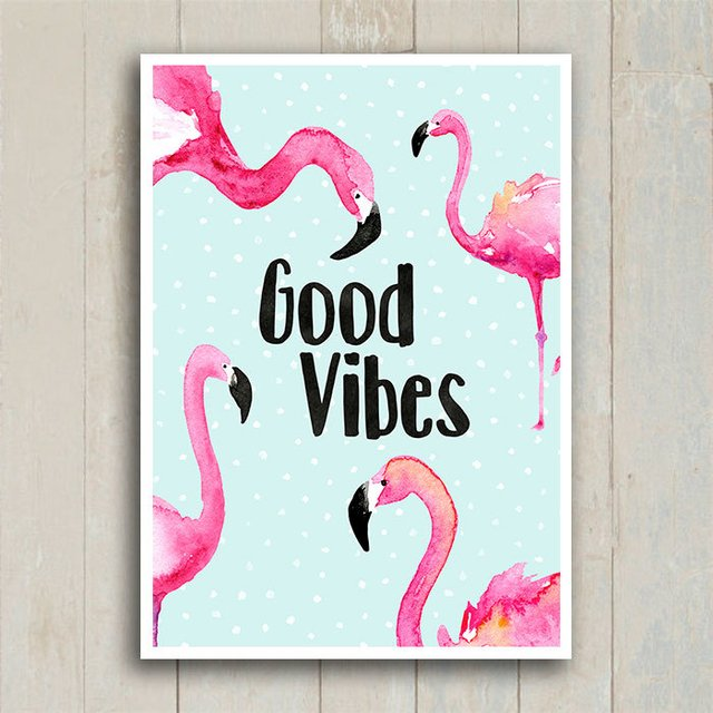 Poster Flamingo Good Vibes