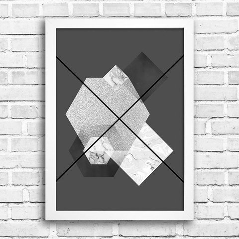 Poster Abstrato Geometric Grey - comprar online