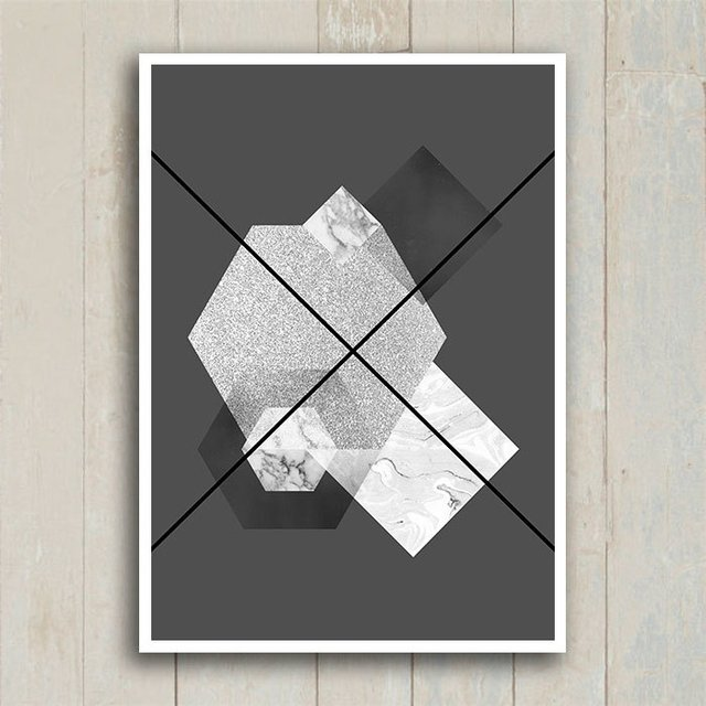 Poster Abstrato Geometric Grey