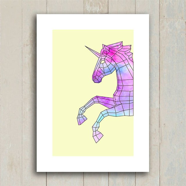Poster Geometric Unicorn