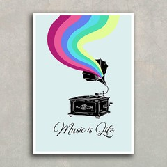 Poster Gramophone - Music is Life - Encadreé Posters