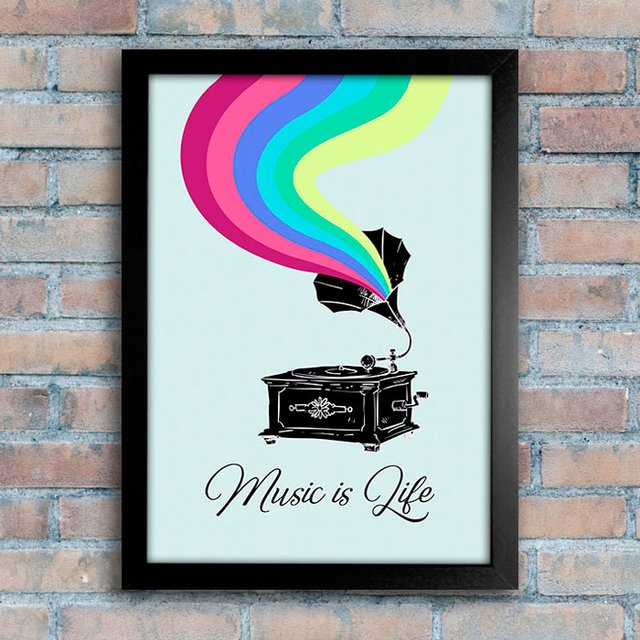 Poster Gramophone - Music is Life - comprar online