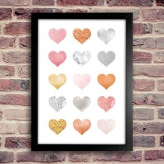 Poster Hearts Rose Gold Silver - Encadreé Posters