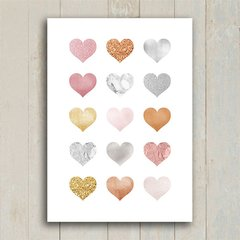 Poster Hearts Rose Gold Silver - loja online
