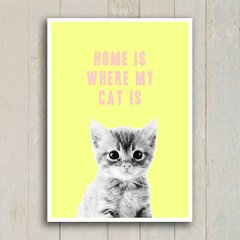 Poster Home is where my cat is - Encadreé Posters