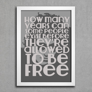 Poster Bob Dylan How Many Years Can Some People Exist Before They're Allowed To Be Free