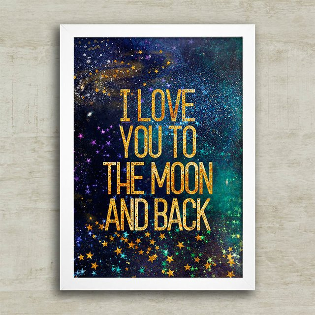 Poster I love you to the moon - gold - comprar online