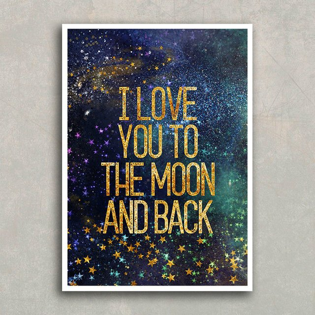 Poster I love you to the moon - gold - Encadreé Posters