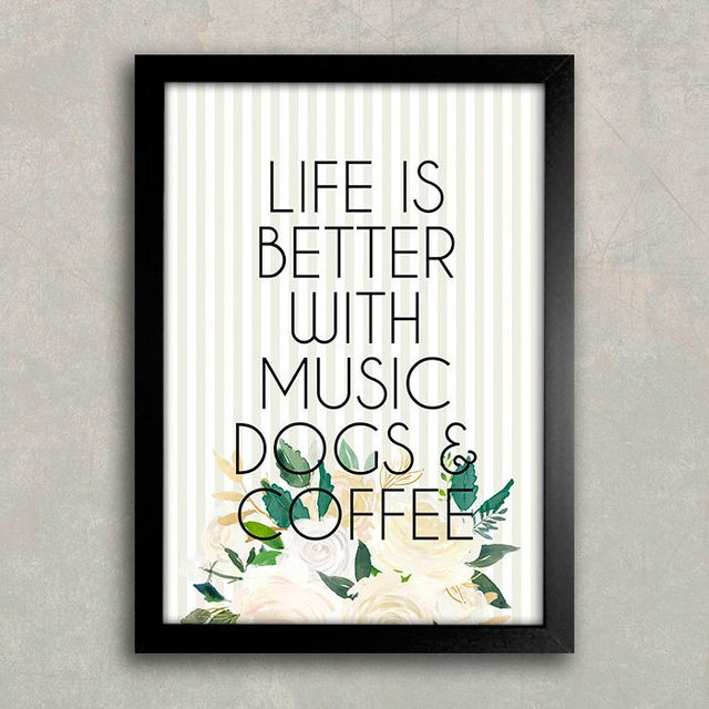 Poster Life is Better - Dogs & Café na internet