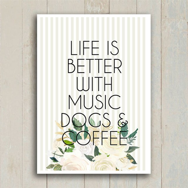 Poster Life is Better - Dogs & Café - loja online