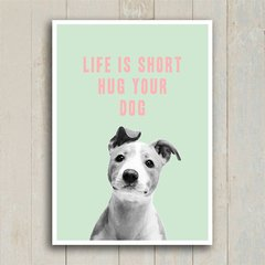 Poster Life is short hug your dog - Encadreé Posters