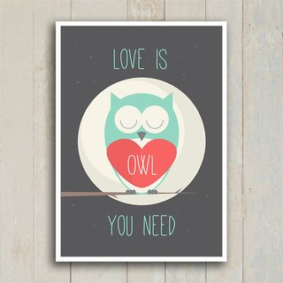 Poster Love is owl you need - Encadreé Posters