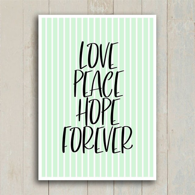 Poster Love Peace Hope Forever - Encadreé Posters