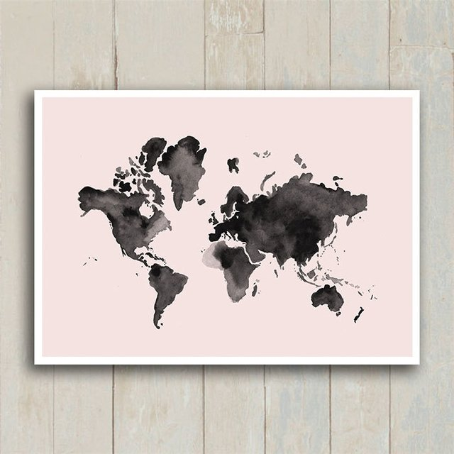 Poster Mapa mundi Watercolor Rosa